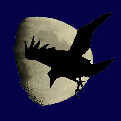 Digital Art - Raven Flying Across The Moon by Tracey Harrington-Simpson