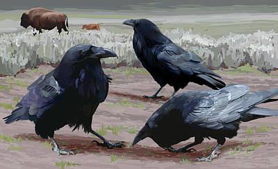 Wall Art - Painting - Raven Gathering by Pam Little