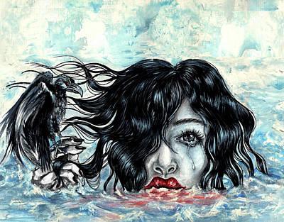 Tears Drawing - Raven Girl by Doriana Popa