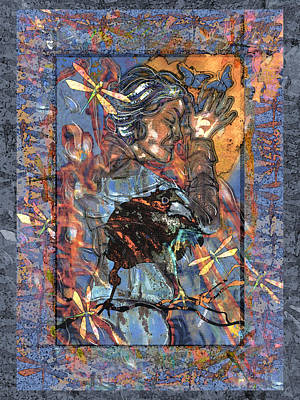 Digital Art - Raven Goddess by Mary Ogle