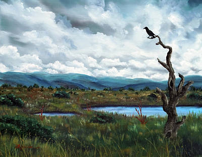 Painting - Raven In A Bleak Landscape by Laura Iverson