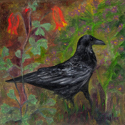 Painting - Raven In Columbine by FT McKinstry