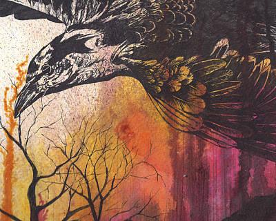 Raven In Flight Original by Colleen Stiles