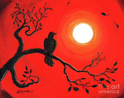 Visionary Art Painting - Raven In Red by Laura Iverson