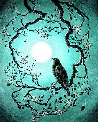 Laura Iverson Royalty-Free and Rights-Managed Images - Raven in Teal by Laura Iverson