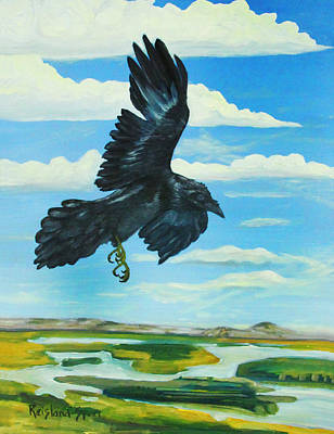 Raven Landing Art Print by Amy Reisland-Speer