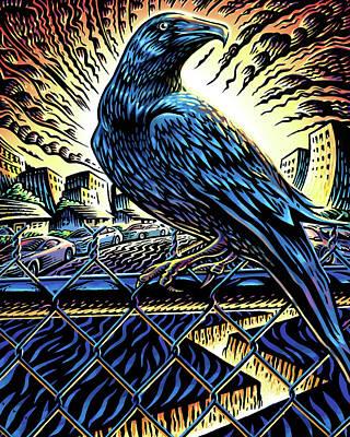 Mark Wagner Wall Art - Mixed Media - Raven by Mark Wagner