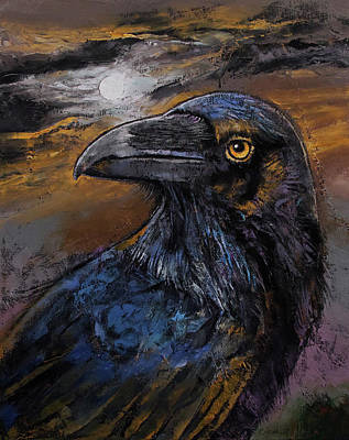 Crow Painting - Raven by Michael Creese