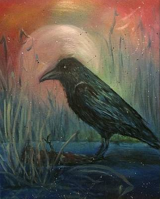 Alleyvision Painting - Raven Moon by Heather Alley
