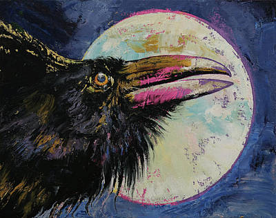 Raven Painting - Raven Moon by Michael Creese