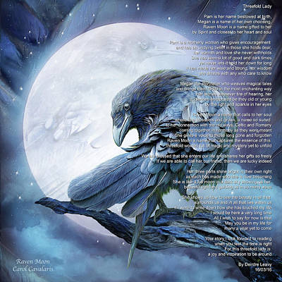 Mixed Media - Raven Moon - Poem by Carol Cavalaris