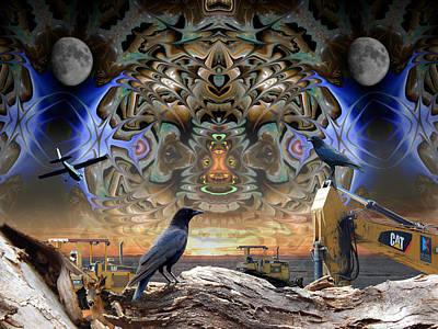 Corvid Digital Art - Raven Moon - Predatory Metal Cats by Glen Faxon