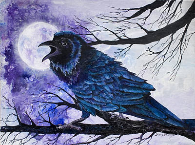 Indian Lore Painting - Raven Moon by Sherry Shipley