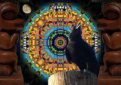 Corvid Digital Art - Raven Moon - The Call by Glen Faxon