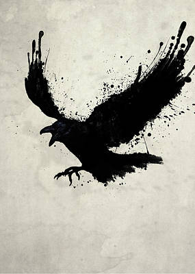 Birds Drawing - Raven by Nicklas Gustafsson