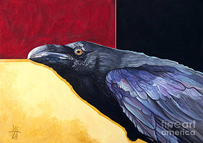 Painting - Raven Of The Rainbow Wings by J W Baker