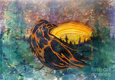 Mixed Media - Raven Of The Woods by Cynthia Lagoudakis