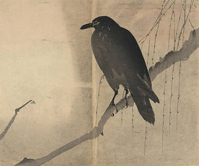 Sepia Ink Drawing - Raven Old Japanese Drawing by Karla Beatty