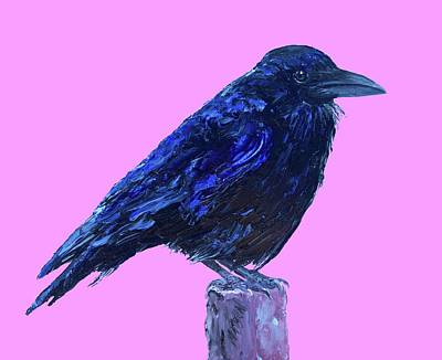 Birds Painting - Raven On Pink Background by Jan Matson