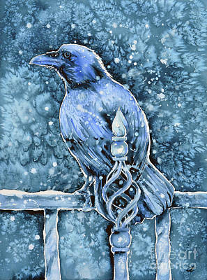 Painting - Raven On Railing by Zaira Dzhaubaeva