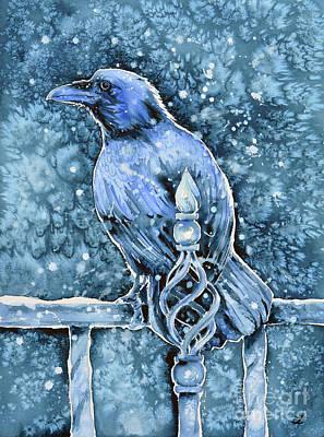 Painting - Raven On Railing by Zaira Dzhaubaeva