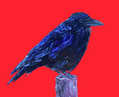 Country Cottage Painting - Raven On Red Background by Jan Matson
