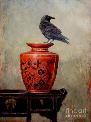 Blackbird Painting - Raven On Red  by Lori  McNee
