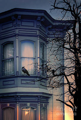 Photograph - Raven On Victorian Windowsill by Jill Battaglia
