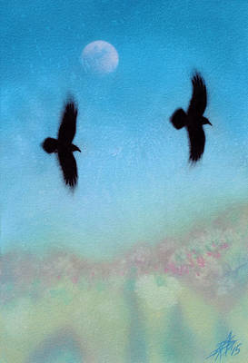 Raven Pair With Diurnal Moon Art Print by Robin Street-Morris