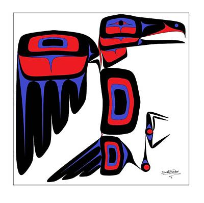 Raven Red And Blue Art Print by Speakthunder Berry