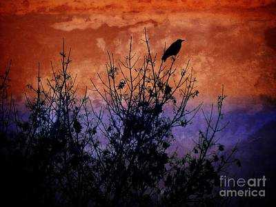 Digital Art - Raven Sentinel by Dee Flouton