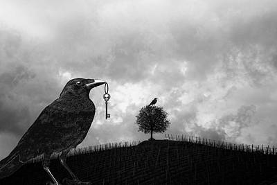 Sit-ins Digital Art - Raven Steals A Skeleton Key And Sits On A Tree  by Sandra McGinley