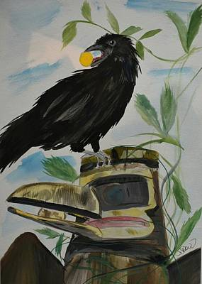 Painting - Raven Steals The Sun by Susan Snow Voidets
