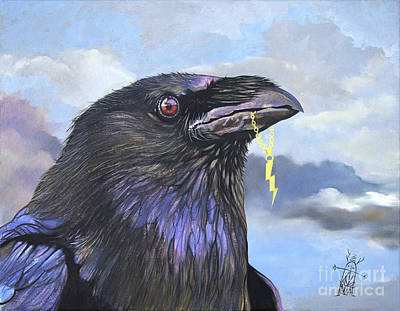 Painting - Raven Teases The Thunder by J W Baker