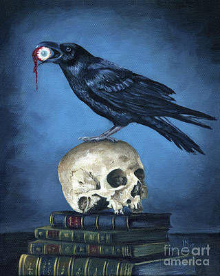 Painting - Raven With Skull by Lisa Norris