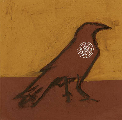 Power Animal Painting - Raven With Spiral by Sophy White