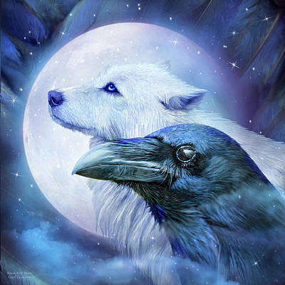 Raven Wolf Moon Art Print by Carol Cavalaris