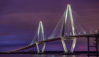 Photograph - Ravenel Bridge At Sunset by James Woody