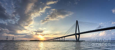 Coopers Photograph - Ravenel Bridge Cooper River Sunset by Dustin K Ryan