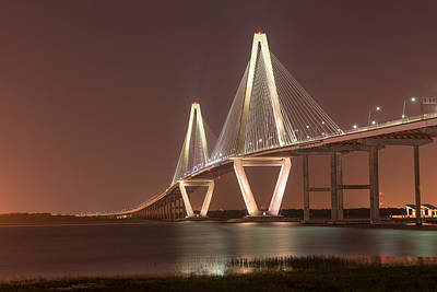Photograph - Ravenel Bridge Glowing In The Darkness Of Charleston Sc by Willie Harper