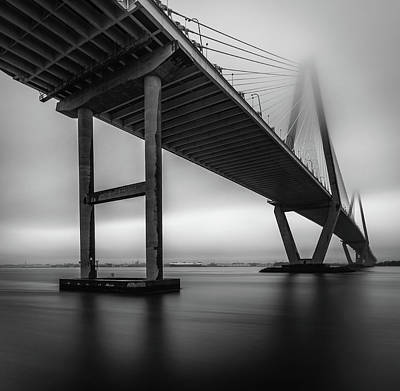 Photograph - Ravenel Bridge November Fog by Donnie Whitaker