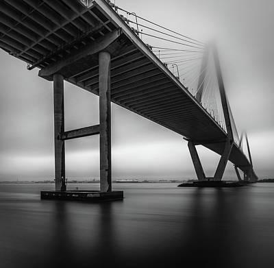 Photograph - Ravenel Bridge November Fog by Donnie Whitaker