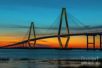Photograph - Ravenel Bridge Orange Glowing by Dale Powell