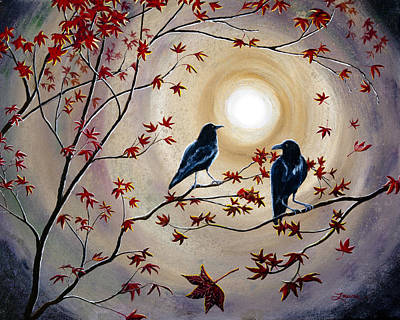 Maple Leaf Art Painting - Ravens In Autumn by Laura Iverson