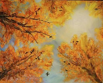 Blue Hues - Ravens in Fall by Masha Schultz