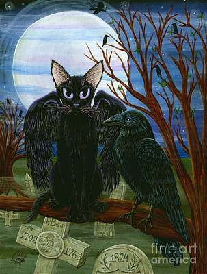 Art Print featuring the painting Raven's Moon Black Cat Crow by Carrie Hawks