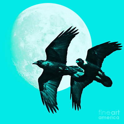 Bif Digital Art - Ravens Of The Moon . Cyan Square by Wingsdomain Art and Photography