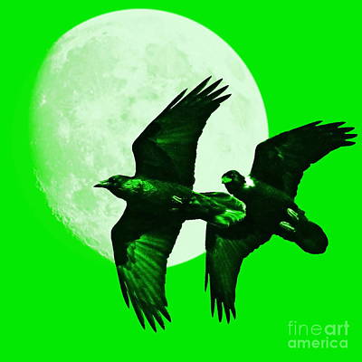 Crow In Flight Digital Art - Ravens Of The Moon . Green Square by Wingsdomain Art and Photography