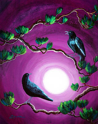 Surreal Art Painting - Ravens On A Summer Night by Laura Iverson