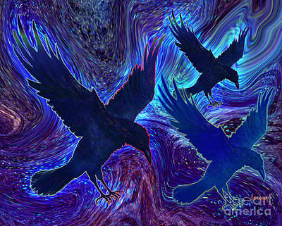 Art Print featuring the painting Ravens On Blue by Teresa Ascone